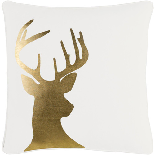 """18"""" White and Gold Contemporary Animal Print Square Throw Pillow - Down Filler - IMAGE 1"""