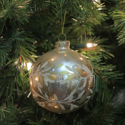 Gold White Glass 2 Finish Christmas Ball Ornament 4 100mm Christmas Central