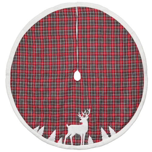 "48"" Red and Black Plaid Reindeer Christmas Tree Skirt - IMAGE 1"