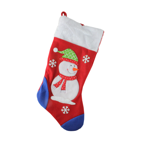 19'' Red and Blue Plush Cuff Snowman Christmas Stocking - IMAGE 1
