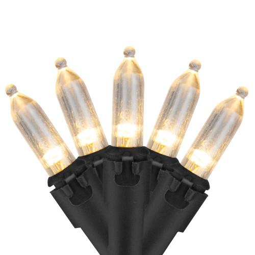 50 White LED Mini Christmas Lights - 16.25 ft Black Wire - IMAGE 1