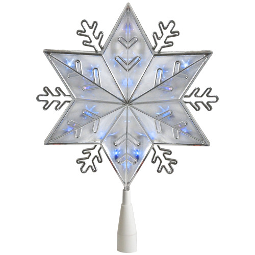 """10"""" Lighted Silver Snowflake Christmas Tree Topper - Blue Lights - IMAGE 1"""