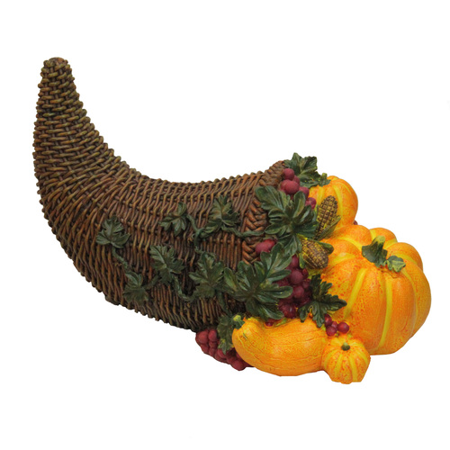 "13"" Brown and Vivid Orange Basket with Pumpkins Thanksgiving Tabletop Figurine - IMAGE 1"