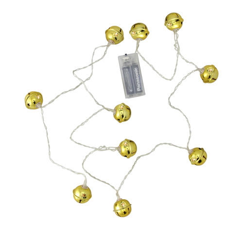 10 Battery Operated Gold Jingle Bell LED Christmas Lights - 4.5 ft Clear Wire - IMAGE 1