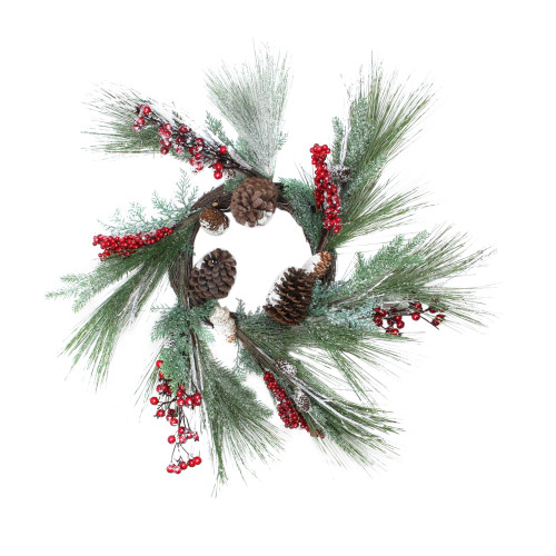 Berries with Pine Cones and Pine Sprigs Artificial Christmas Wreath - 32-Inch, Unlit - IMAGE 1