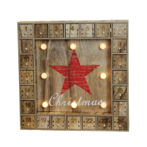 "14"" Pre-Lit Brown and Red LED Advent Calendar Christmas Wall Decor - IMAGE 1"