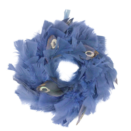 Feather Blue and Gray Artificial Christmas Wreath - 10-Inch, Unlit - IMAGE 1