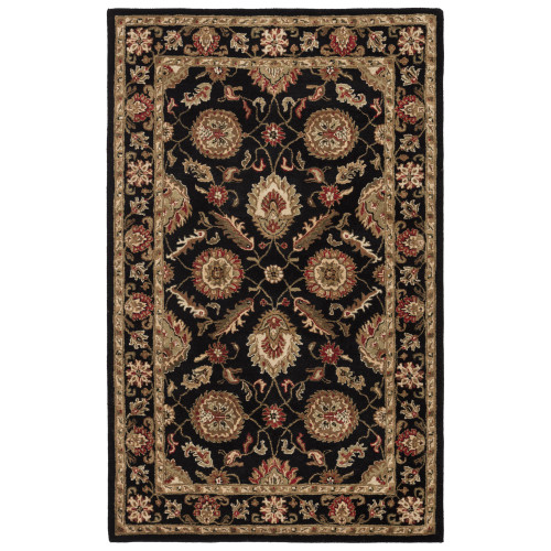 12' x 18' Black and Red Traditional Hand Tufted Rectangular Wool Area Throw Rug - IMAGE 1