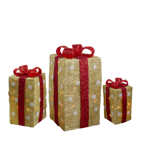 """Set of 3 Lighted Tall Gold Sisal Gift Boxes with Red Bows Christmas Outdoor Decor 18"""" - IMAGE 1"""