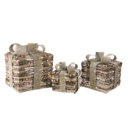 Set of 3 Lighted Rattan Gift Boxes with Burlap Bows Table Top Christmas Decoration - IMAGE 1