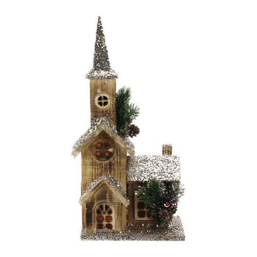 """16.75"""" LED Lighted Country Rustic Brown Wooden Church Table Top Christmas Decoration - Pre-Lit - IMAGE 1"""