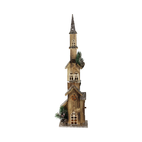 """27.5"""" Brown and Ivory Led Lighted Church Christmas Decoration - IMAGE 1"""
