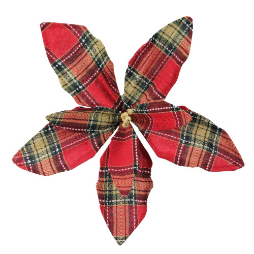 """13.5"""" Red and Brown Plaid Poinsettia Flower Christmas Pick - IMAGE 1"""