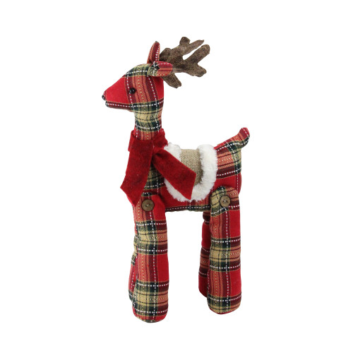 """16.5"""" Red and Brown Plaid Standing Reindeer Christmas Decoration - IMAGE 1"""