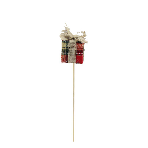 """13"""" Red and Brown Plaid with Burlap Bow Christmas Gift Box Shaped Pick - IMAGE 1"""