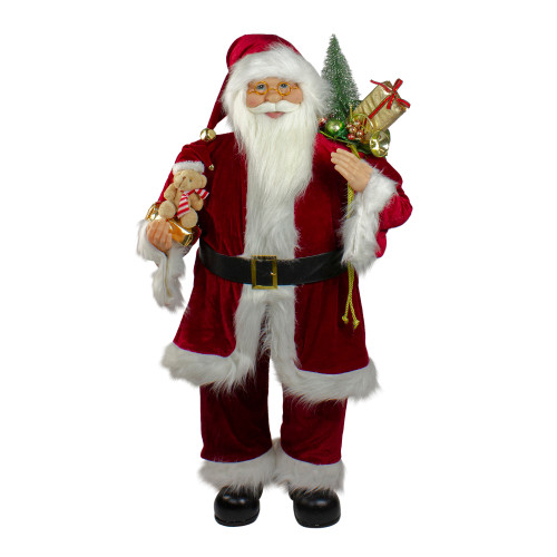 "36"" Red and White Standing Santa Claus Christmas Figure with Teddy Bear and Gift Bag - IMAGE 1"