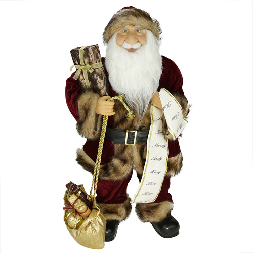"""24"""" Red and White Woodland Standing Santa Claus Christmas Figure with Name List - IMAGE 1"""