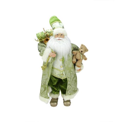 """24"""" Green and White Standing Santa Claus Holding a Teddy Christmas Figurine - IMAGE 1"""