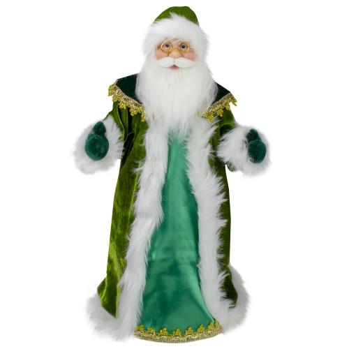 "18"" Green and White Irish Christmas Santa Claus Tree Topper - Unlit - IMAGE 1"