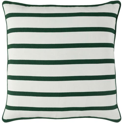 "18"" White and Green Contemporary Striped Square Throw Pillow - Down Filler - IMAGE 1"