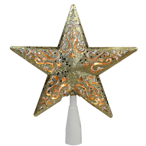 """8.5"""" Gold Glitter Star Christmas Tree Topper - Clear Lights - IMAGE 1"""