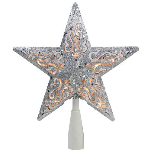 """8.5"""" Silver Glitter Star Lighted Cut Out Design Christmas Tree Topper - Clear Lights - IMAGE 1"""