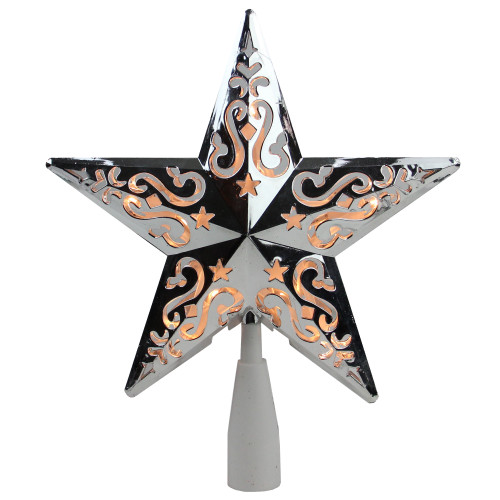 """8.5"""" Lighted Silver and White Star with Cut-Out Christmas Tree Topper - Clear Lights - IMAGE 1"""