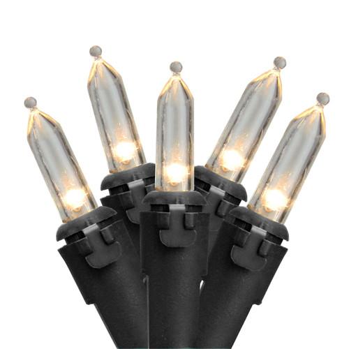 100 White LED Mini Christmas Lights - 33 ft Black Wire - IMAGE 1