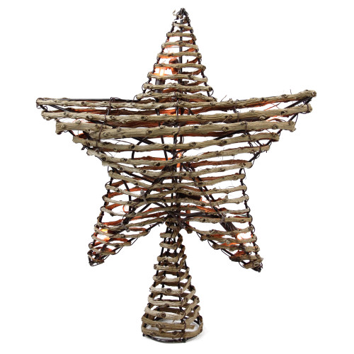 """11.5"""" Lighted Brown Star Christmas Tree Topper - Clear Lights - IMAGE 1"""