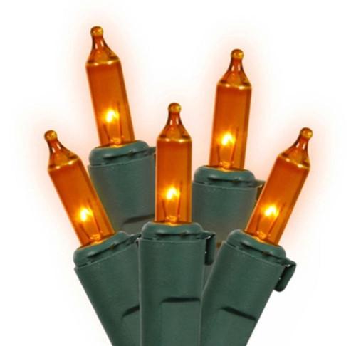 4' x 6' Orange Mini Incandescent Net Style Christmas Lights - Green Wire - IMAGE 1