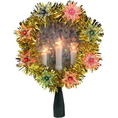 """7"""" Lighted Gold Tinsel Wreath with Candles Christmas Tree Topper - Multi Lights - IMAGE 1"""