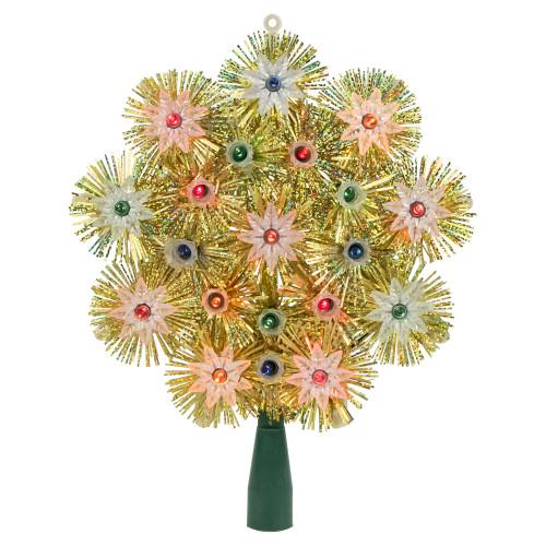 "8"" Lighted Gold Retro Tinsel Snowflake Christmas Tree Topper - Multi Lights - IMAGE 1"