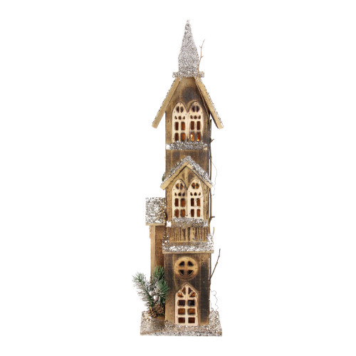 "24.5"" LED Lighted 3-Tier Brown Wooden Church Christmas Decoration - IMAGE 1"