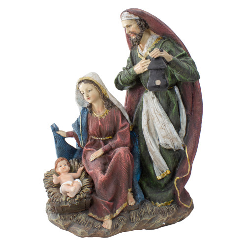 """14"""" Green and Brown Silent Night Holy Family Nativity Christmas Figurine - IMAGE 1"""