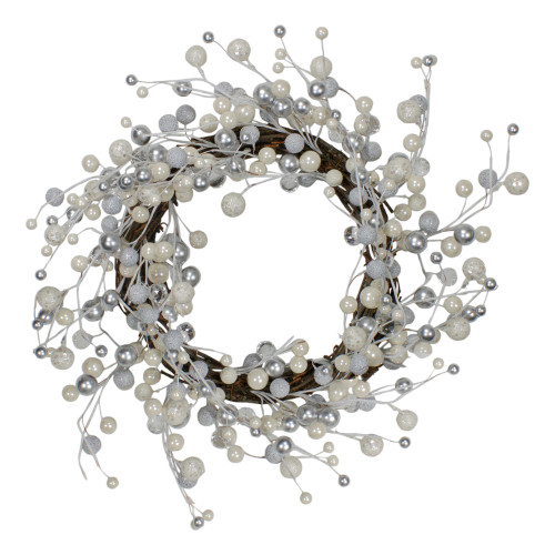 """20"""" Silver and White Ball Ornaments Artificial Christmas Wreath - Unlit - IMAGE 1"""