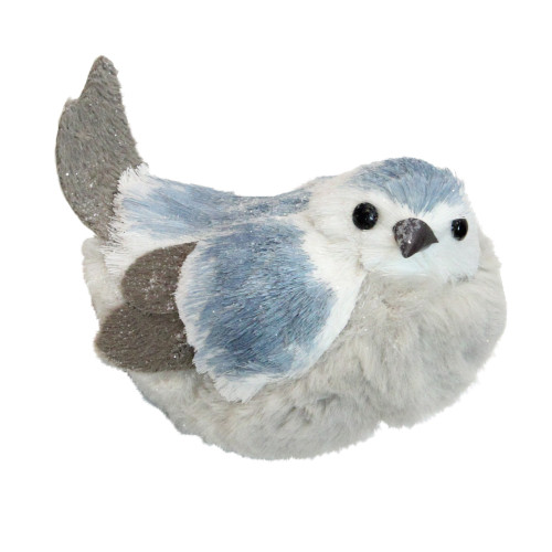 """5.5"""" Blue and White Resting Bird Christmas Tabletop Figurine - IMAGE 1"""