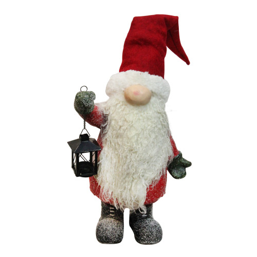 """20"""" Red and White Santa Gnome with Lantern Christmas Decor - IMAGE 1"""