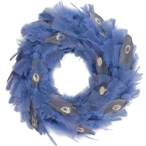 Blue and Gray Feather Artificial Christmas Wreath - 14-Inch, Unlit - IMAGE 1