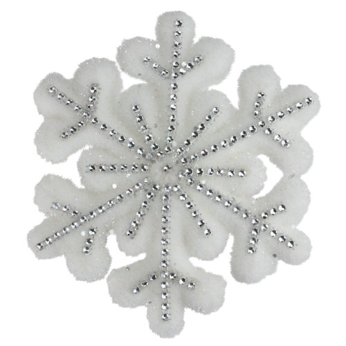 """6.75"""" White and Silver Contemporary Snowflake Christmas Ornament - IMAGE 1"""