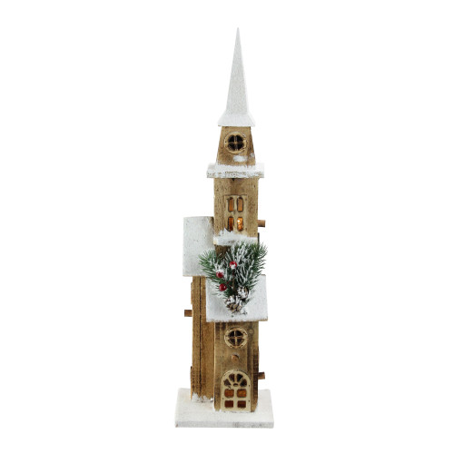 "20.75"" LED Lighted Brown Wooden Snowy Church Christmas Decoration - IMAGE 1"