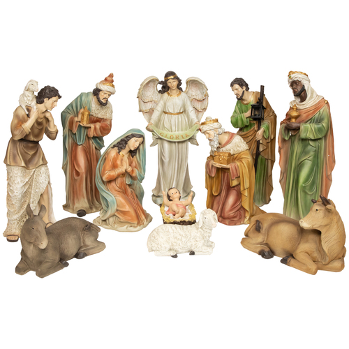 """11-Piece Brown and Ivory Large Tranquil Religious Christmas Nativity Set 22.75"""" - IMAGE 1"""