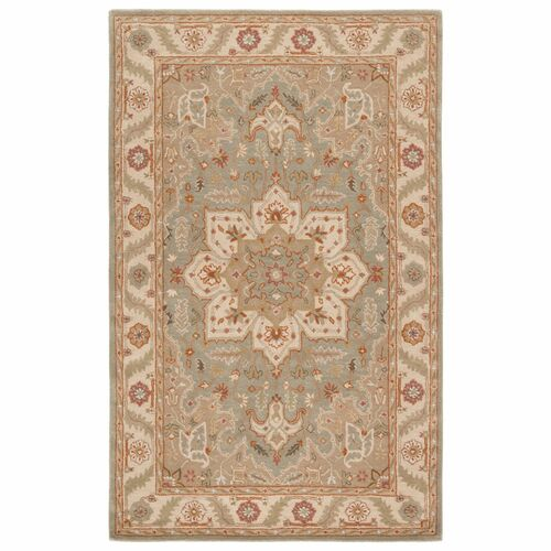 12' x 15' Brown and Blue Hand Tufted Orleans Design Rectangular Area Throw Rug - IMAGE 1