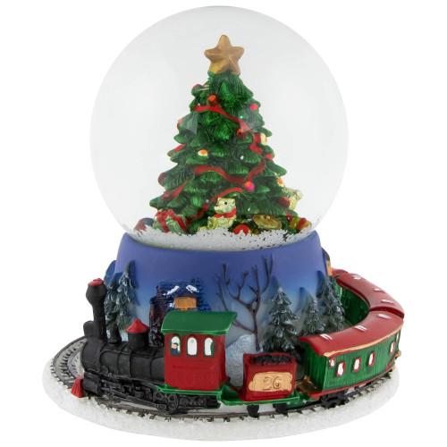 """7"""" Rotating Train And Christmas Tree Musical Animated Snow Globe - IMAGE 1"""