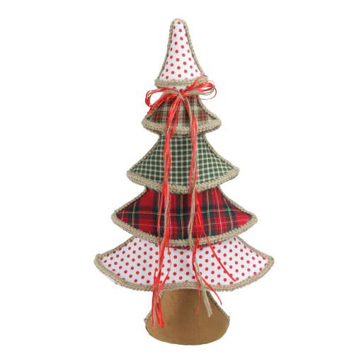 """23"""" Red and Green Plaid and Polka Dot Christmas Tree Tabletop Decor - IMAGE 1"""