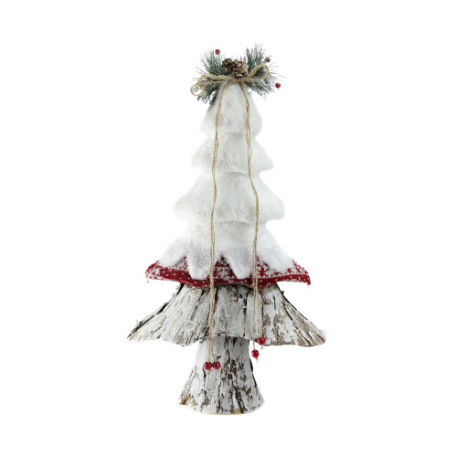 """18"""" White and Brown Rustic Christmas Tree Tabletop Decor - IMAGE 1"""