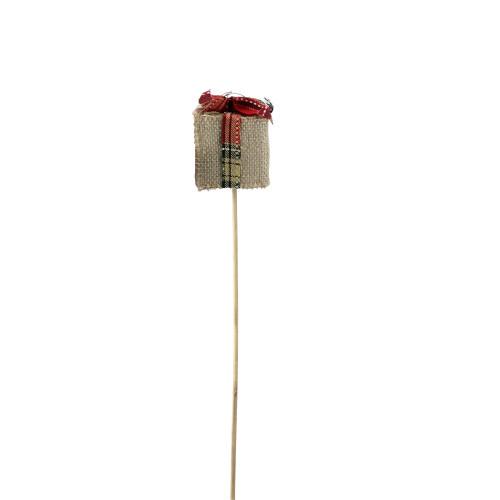 "16"" Tan Brown and Red Christmas Gift Box Shaped Pick - IMAGE 1"