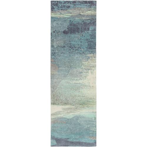 2.5' x  8' Blue and Gray Rectangular Area Throw Rug Runner - IMAGE 1