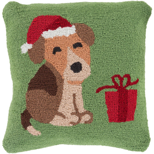 """18"""" Green and Brown Puppy in a Santa Hat Christmas Throw Pillow - IMAGE 1"""