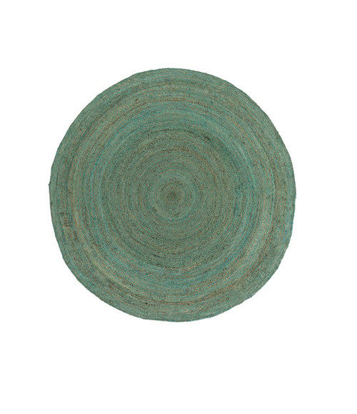 3' Salvageable Shore Fern Green and Liver Brown Round Hand Woven Reversible Area Throw Rug - IMAGE 1