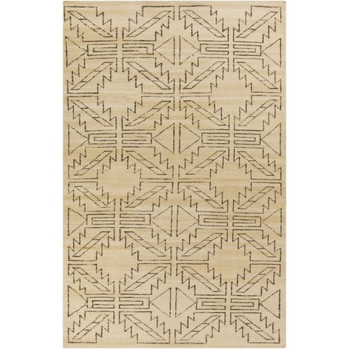 3.5' x 5.5' Tundra Geometrics Tan Brown Hand Knotted Rectangular Area Throw Rug - IMAGE 1